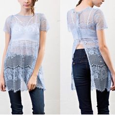 Gorgeous lace over top Gorgeous lace long top to wear over tanks or other undershirts. Looks adorable on top of bras as well. Beautiful blue lace. April Spirit Tops