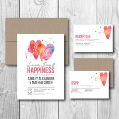 Printable Wedding Invitation Set  Watercolor Heart by 51FOLD, $35.00