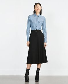 Image 1 of METALLIC ZIP SKIRT from Zara