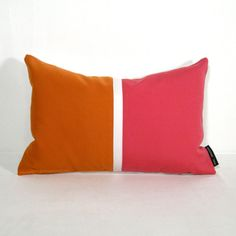 Color block Pillow Cover  Pink Orange Outdoor Indoor  by Mazizmuse, $55.00