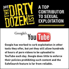 YouTube is a top contributor to sexual exploitation.   Share this graphic on social media!