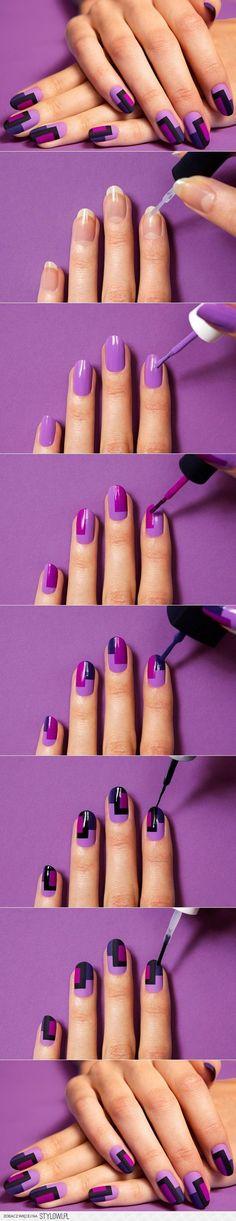 DIY Chic Mod Mani Striped Nail Art   www.FabArtDIY.com na Stylowi.pl