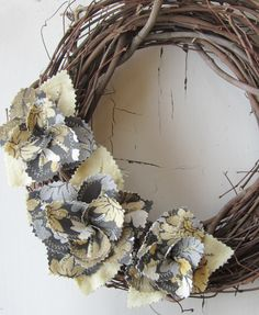 Fabric Flowers Leaves Wreath - Grey Floral Yellow Gold Linen Door Decor Grapevine Wreath Wall Hanging $30.00, via Etsy.