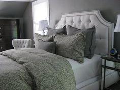 bedrooms - Benjamin Moore - Galveston Gray - Arhaus Monaco Chair, Ethan Allen Alison Bed, gray bedrooms, gray paint colors, gray bedroom, gray walls, gray rooms,