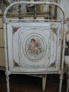 OMG Old Antique Metal Panel Cherubs Birds Roses Repurposed Crib Headboard OMG | eBay