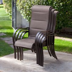 Outdoor Coral Coast Del Rey Deluxe Padded Sling Patio Dining Chair - Set of 4 Bronze - DR4-HDP01A-037