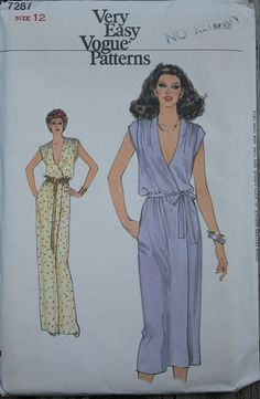 Vogue 7287 1970s 70s Maxi Boho Blouson Wrap Dress Vintage Sewing Pattern Size 12 Bust 34