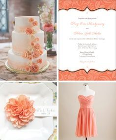 mint green and coral wedding CAKE - Google Search