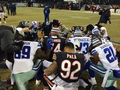 Battle on the field, give thanks after #DALvsCHI #DallasCowboys @bearsproshop
