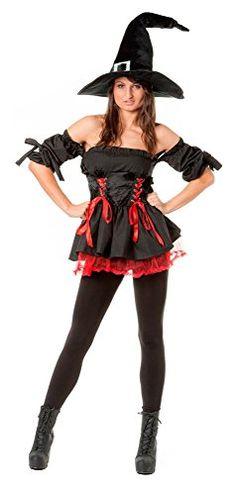 r-dessous sexy Hexen Kostüm Damen Kleid 3-tlg mit Hut Zauberin