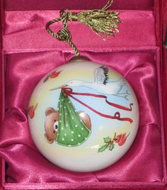 Baby s First Christmas Ne Qwa Christmas Ornament Glass Ball Stork Bear Birds