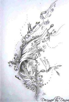 Feather tattoo design by me - Danira Backpiece Tattoo, Et Tattoo, Ankle Tattoo, Tattoo Drawings, Body Art Tattoos, Sleeve Tattoos, Tattoo Quotes, Lace Tattoo, Feather Tattoo Design