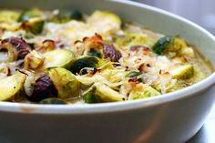 Chestnuts and Brussels Sprouts in Brown Butter Sauce