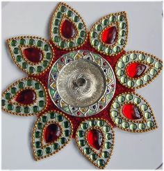 what is Kundan Rangoli Rangoli Designs, Diwali, Creative Inspiration, Jewelry Making, Brooch, Colours, Beads, Stone, Handmade