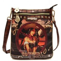 Super Cute Fashion Bag/Messenger-Bag. Check Out What's Inside:  - SIZE 10(L) X11(H) X1(W) - One Adjustable Long Shoulder strap - Zip Top Closure - Front Pocket w/Zipper - Insid Compartments - One Wall zipper - Two pouch pockets Inside - Back pocket w/Zipper  NICE COWGIRL WHEEL WESTERN PRINT - GET YOURS TODAY!