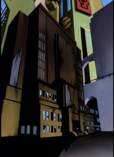 Police Headquarters Night, by Richie Chavez & Steve Butz, for Batman The Animated Series.  Abandoned Police Headquarters, from the Batman Beyond episode 'Shriek' (no artist info) (Pic courtesy of The World's Finest)