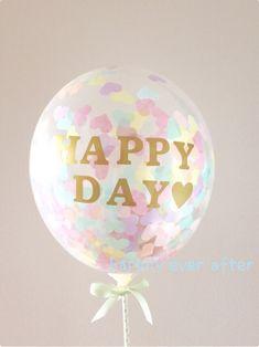 コンフェッティバルーンキット♡ フォトプロップス《HAPPY DAY♡》|その他オーダーメイド|happily ever after|ハンドメイド通販・販売のCreema Christmas Bulbs, Balloons, Wedding Photos, Holiday Decor, Creema, Party, Image, Marriage Pictures, Globes