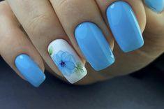 Light Blue Nails, Flower Nails, Coffin Nails, Summer Nails, Nail Art, Shapes, Summery Nails, Long Fingernails, Nail Arts