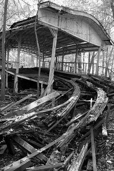 Abandoned Roller Coaster Station.  Just think of all of the fun and the diversity of lives that must have passed through here.