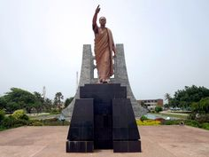 A bronze statue of Ghana's first president, Kwame Nkrumah stands in Kwame Nkrumah Memorial Park in downtown Accra. Capital Of Ghana, Memorial Park, Accra, West Africa, Bronze, Statue, Travel, Cemetery, Viajes