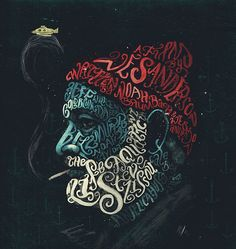 Peter Strain illustration: The Life Aquatic with Steve Zissou  I wanted to experiment a little more with typographic portraits and I thought there was no better inspiration than this film