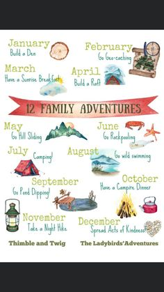 A year of Outdoor Family Adventures. Our plan to connect more with our family and have one adventure every month for a year. Outdoor Activities For Kids, Activities To Do, Nature Activities, Outdoor Learning, Spring Activities, Raft Building, Forest School, Learning Through Play, Family Adventure