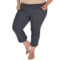 4ffe729d0ff Amazon.com  Stretch is Comfort Women s PLUS SIZE CAPRI Yoga Pants  Clothing
