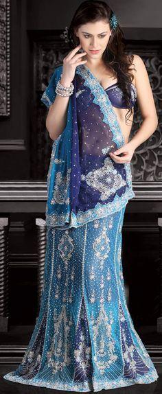 Magnetic Net Embroidered Lehenga Saree