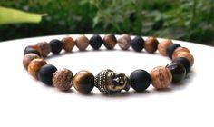 Mens Buddha Bracelet Mens MultiGemstone Bracelet by BlueStoneRiver, $26.95
