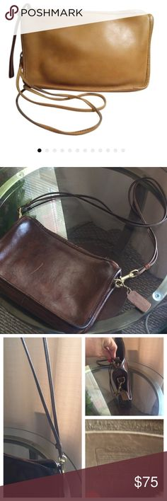 """Vintage COACH New York City shoulder bag Nice brown calf leather n: 030-0707 7""""X11"""" 18"""" strap drop .. EUC scuff on one side Coach Bags Shoulder Bags"""