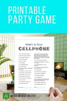 Printable Whats In Your Phone Printable Movie Night TV Binge image 2 Wedding Party Games, Birthday Party Games For Kids, Human Bingo, Cell Phone Game, Office Parties, Bingo Cards, Fun At Work, New Years Party, Getting To Know You