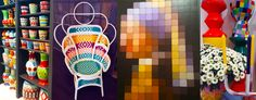 Paris Design Week : Trend Report – Hutsly. Vases and pots by Asiatides, rattan armchair by Versmissen, pixel wall art by Ixxi, stools and decorative accessories by Pols Potten.