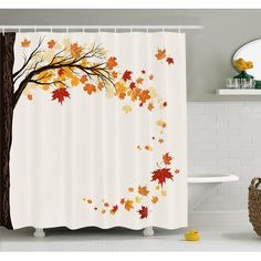 Ambesonne Fall Leaf Group Motion In Mother Earth Transition From Summer To Winter Decor Shower Curtain Set