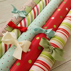 Tie a ribbon around Christmas wrapping paper!