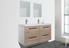 The Maine is a floating wall-mounted bathroom vanity which features four spacious drawers. Its contemporary lines are enhanced by the stylish handles and the wood finish. Resin Countertops, Sink Countertop, Double Sink Bathroom, Master Bathroom, Minimalist Bathroom Furniture, Floating Wall, Vanity Set, Walnut Wood, Drawers