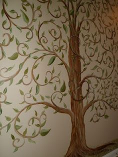 Whimsical Tree of Life Mural for playroom add hooks?