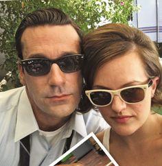 Jon Hamm (Don Draper) and Elisabeth Moss (Peggy Olson) on the set of Mad Men.