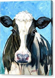 Holstein Cow 1 Head And Chest Canvas Print by Dottie Dracos