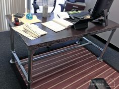 Rugged Butcher Block Desk  #DIY #butcherblock #pipedesk