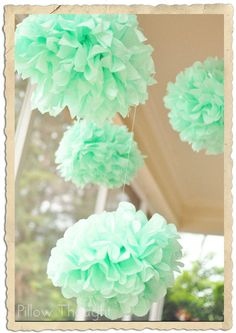Pillow Thought: Mint to Be {Bridal Shower} Mint Poms- http://www.etsy.com/shop/SimplyNesting