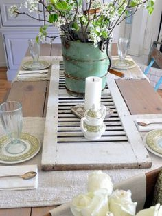 Old Shutter....Table Centre...Great Idea....