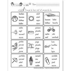 Fichier PDF téléchargeable En noir et blanc 1 page Niveau 1re année Dans cet exercice, l'élève doit encercler le mot correspondant à l'image. La feuille contient 12 images, 4 choix de mots par illustration.