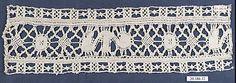 Insertion Date: 16th century Culture: Italian (Genoa) Medium: Bobbin lace Accession Number: 20.186.12