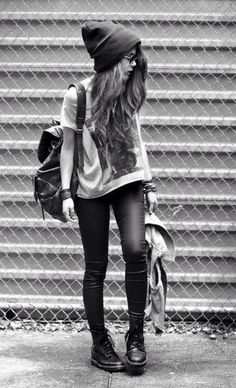 Sneakers, leather leggings, oversized shirt, beanie <3 LOVE