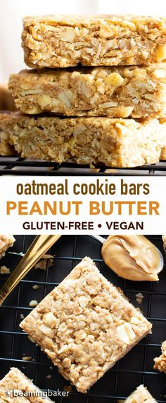 Vegan Oatmeal Peanut Butter Cookie Bars (GF): the best salty & sweet oatmeal cookie bars, with chewy, crispy edges, chopped peanuts, and bursting with. Peanut Butter Biscuits, Oatmeal Cookie Bars, Peanut Butter Oatmeal Bars, Chewy Peanut Butter Cookies, Butter Cookies Recipe, Chocolate Chip Cookies, Baked Oatmeal Bars, Vegan Baked Oatmeal, Oatmeal Bars Healthy