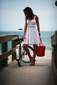 "Crochet pattern ""white summer dress"" Skill Level: Intermediate. Size: S- L; XL-XXXL. Yarn: cotton 282m-50gr.(3ply) and..."