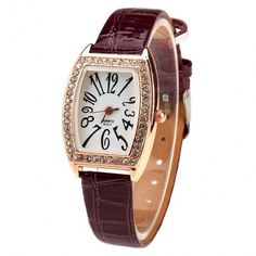 New Fashion Women Casual Rhinestone Watch Rectangle Wristwatch Quartz Watch