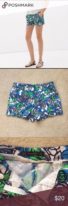 Zara Basic Floral Print Chino Shorts Zara chino shorts. Great condition. Super soft  with a bit of stretch. 97% Cotton, 3% Elastane. 11inches waist to hem, 14 inches across top, 2.5 inch inseam, 9 inch rise. Two front pockets, faux back pockets. Zipper front center with button and clasp closure. Zara Shorts