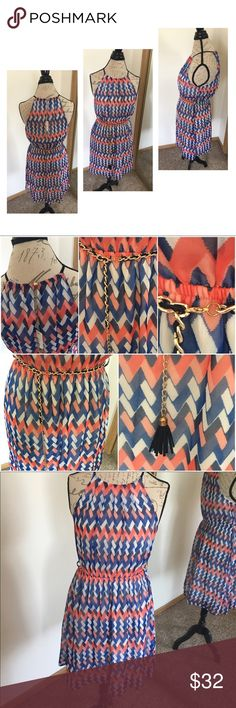 ⭐️SALE⭐️Belted Print Halter Dress 🔹Red, White & blue 🔹Halter top 🔹Banded waist 🔹Pleated skirt 🔹Roped tassel belt in gold and black clasp for adjustable size  🔹Back button in gold 🔹Inside hanger straps are frayed: one is undone as pictured and the other in frayed 🔹Self: 70% Silk, 30% Polyester  🔹Lining: 100% Polyester  🔹Hand Wash Cold  🔹Hang to Dry  🚫No Trades 🚫No PayPal Ya Los Angeles Dresses Midi