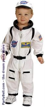 PartyBell.com - NASA Jr. Astronaut Suit White Toddler Costume